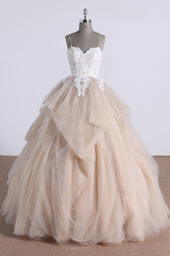 Champagne sweetheart tulle lace long prom dress, tulle formal dress