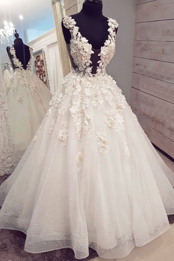 White v neck tulle lace tulle long prom dress, tulle lace wedding dress