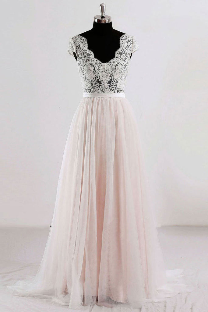 Champagne v neck lace tulle long prom dress, champagne tulle evening dress