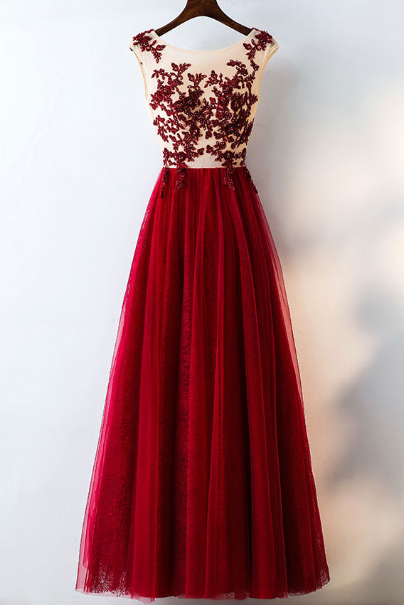 Burgundy tulle lace applique long prom dress, evening dress