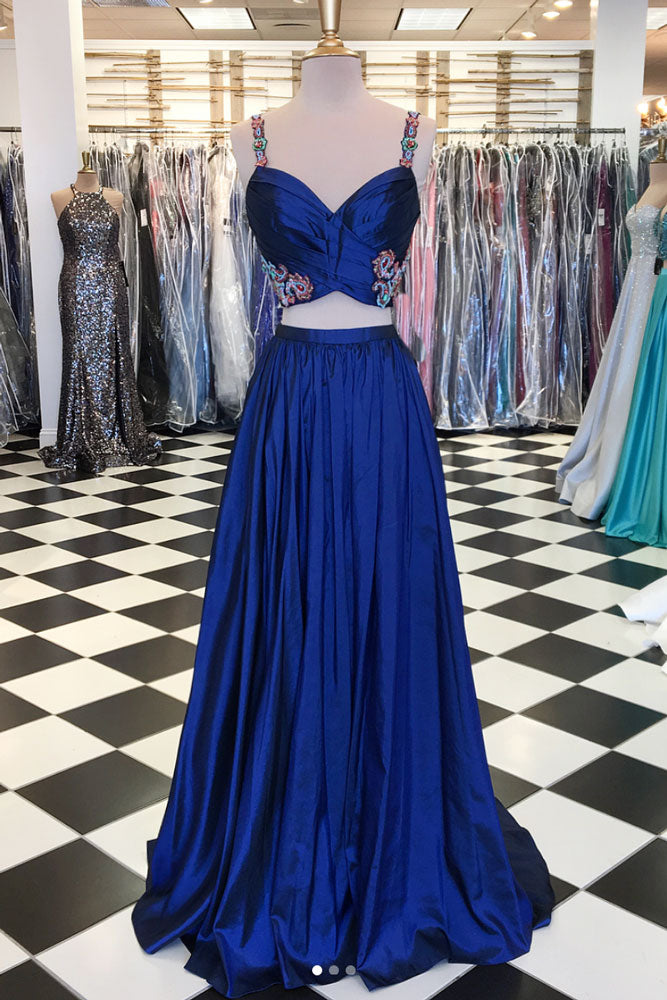 Blue two pieces beads long prom dress, blue evening dress