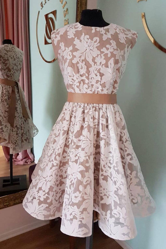Unique lace short prom dress, lace homecoming dress