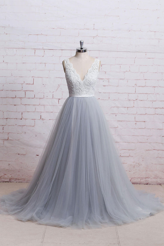Gray v neck lace tulle long prom dress, tulle evening dress