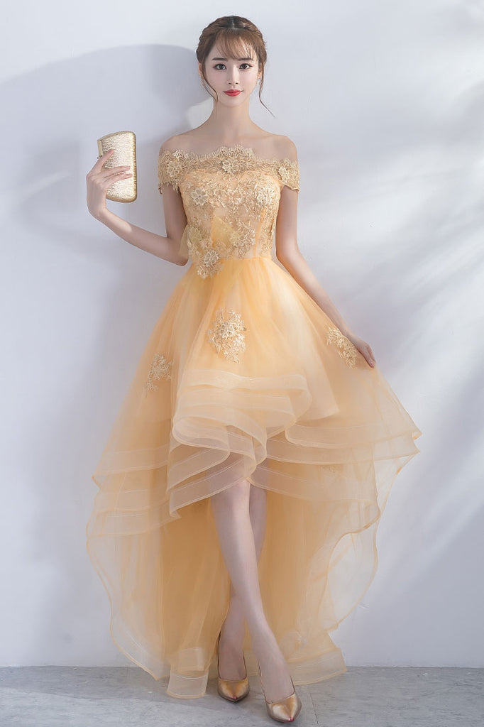 Cute champagne tulle high low prom dress, champagne homecoming dress