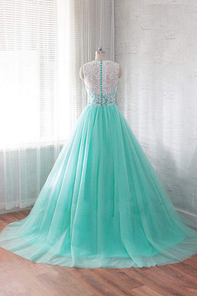 Green round neck tulle lace long prom dress, wedding dress