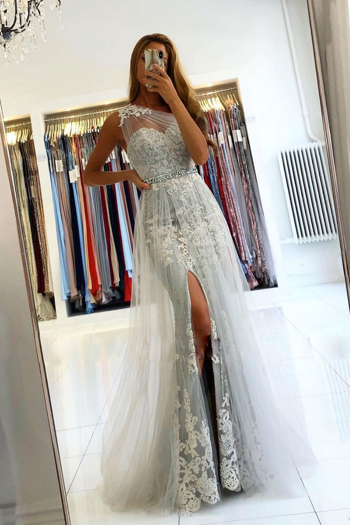 Gray one shoulder tulle lace long prom dress gray evening dress