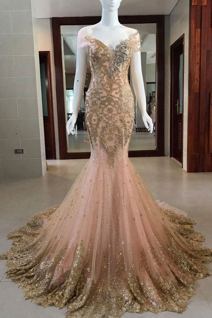 Unique v neck tulle sequin mermaid long prom dress, evening dress