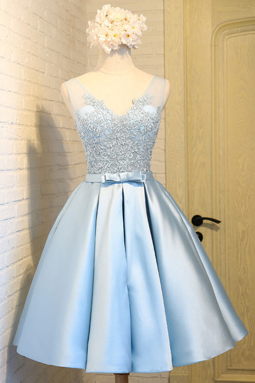 Light blue v neck lace applique short prom dress, blue homecoming dress