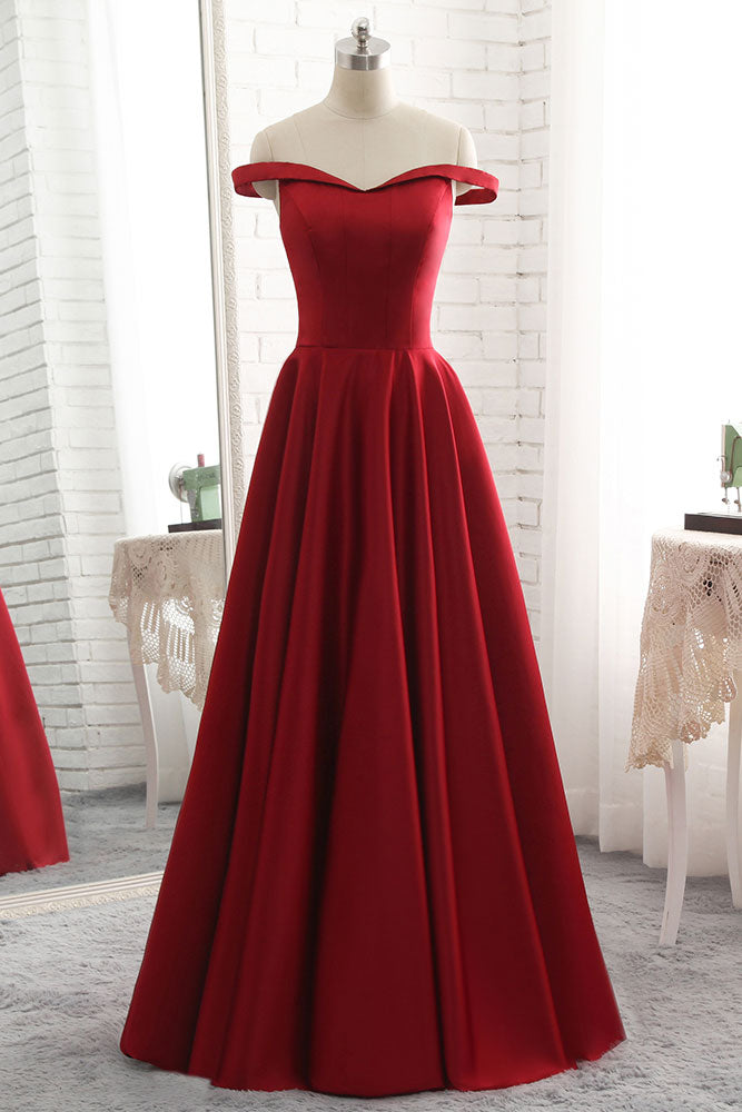 Simple burgundy off shoulder long prom dress, burgundy bridesmaid dress