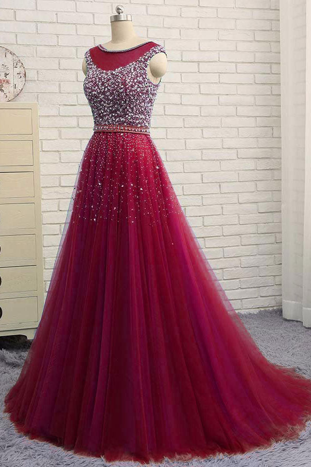Burgundy round neck tulle sequin tulle long prom dress. burgundy evening dress