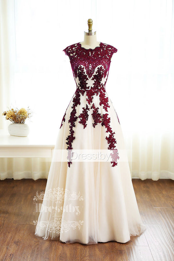 Burgundy Lace Tulle Long Prom Dress Burgundy Bridesmaid