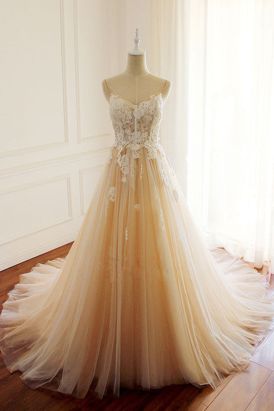 Champagne tulle lace applique long prom dress, champagne evening dress
