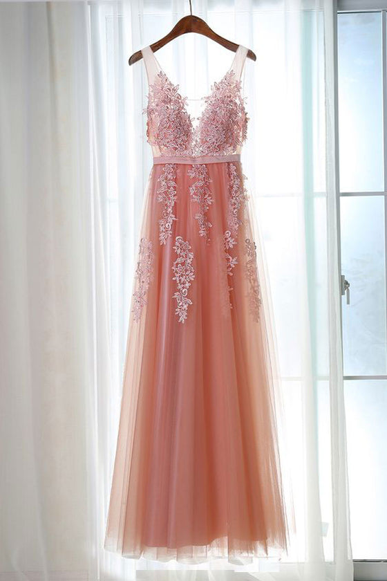 Pink v neck tulle lace long prom dress, bridesmaid dress