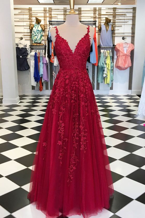 Burgundy v neck tulle lace long prom dress, burgundy tulle evening dress