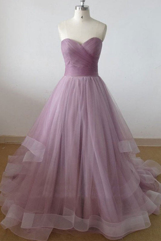 Simple sweetheart neck tulle long prom dress, tulle evening dress