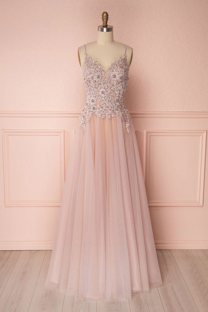 Pink v neck tulle lace applique long prom dress, pink evening dress