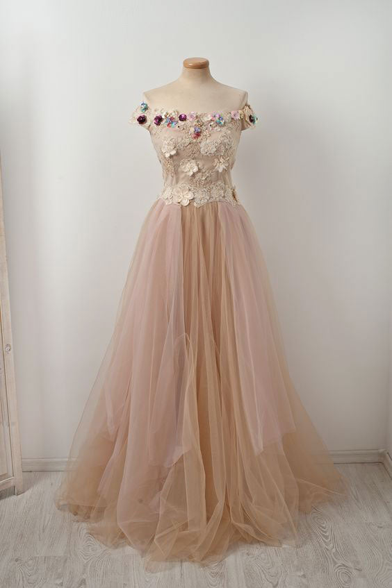 Unique champagne tulle lace applique long prom dress, champagne evening dress