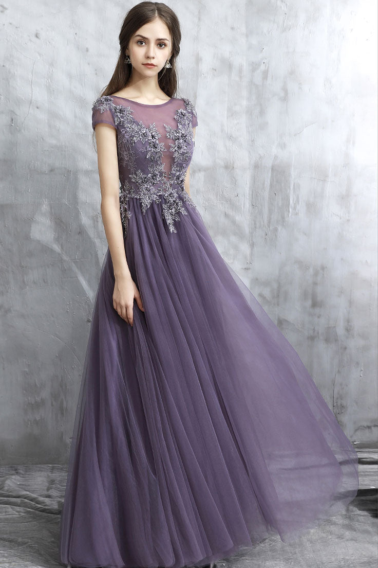 63dd84f67fa Elegant round neck tulle long prom dress