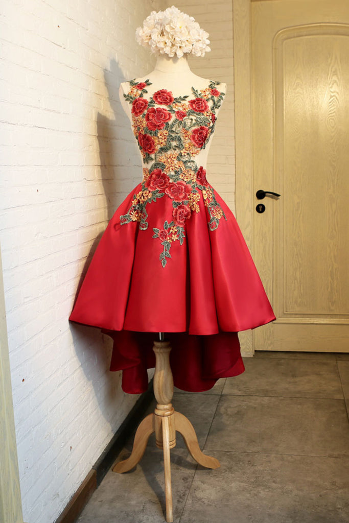 Red lace applique short prom dress, red homecoming dress