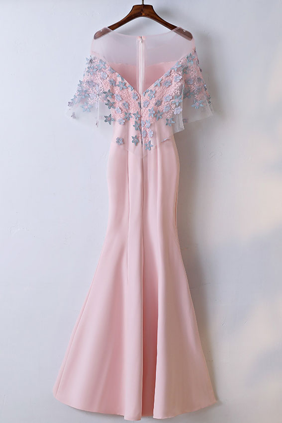 Pink round neck satin lace applique long prom dress, pink evening dress