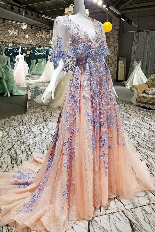 Unique champagne lace applique long prom dress, champagne evening dress