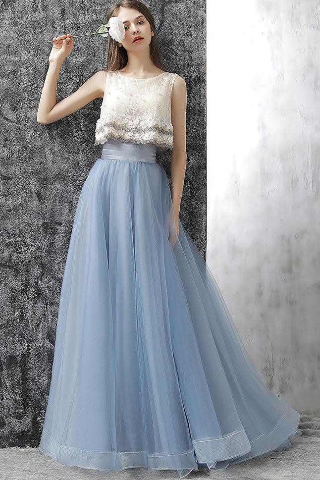 Elegant gray blue tulle lace two pieces long prom dress, gray blue ...