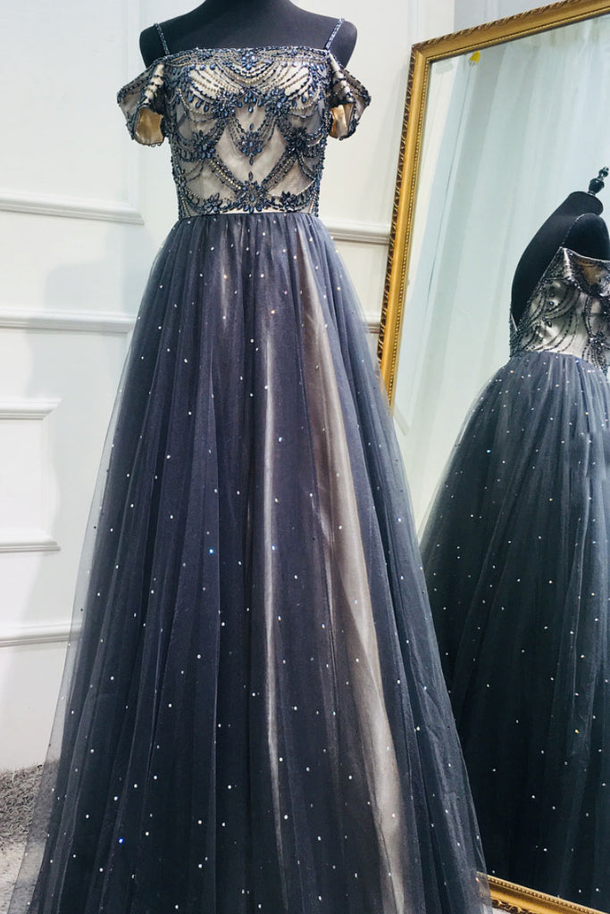Dark blue tulle sequin beads long prom dress, tulle evening dress