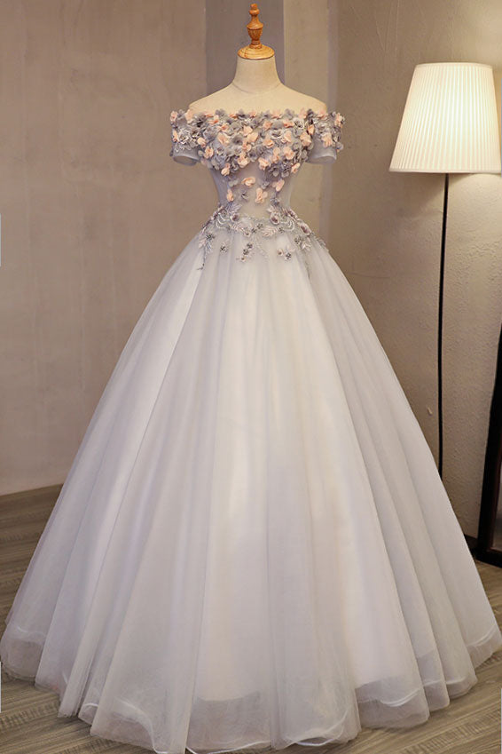 Gray tulle applique long prom dress, sweet 16 dress