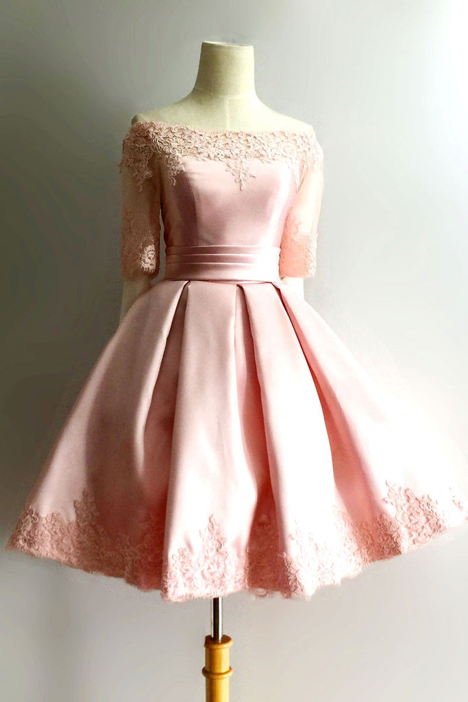 Pink lace short prom dress, pink lace homecoming dress