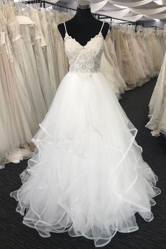 White tulle v neck lace long prom dress, white tulle wedding dress