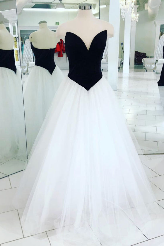 Simple tulle long prom dress, white tulle evening dress
