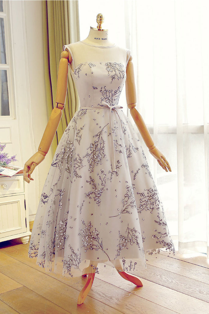 Cute tulle tea Length prom dress, bridesmaid dress, homecoming dress