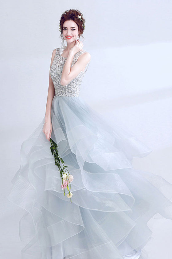 Unique gray round neck tulle long prom dress, gray evening dress