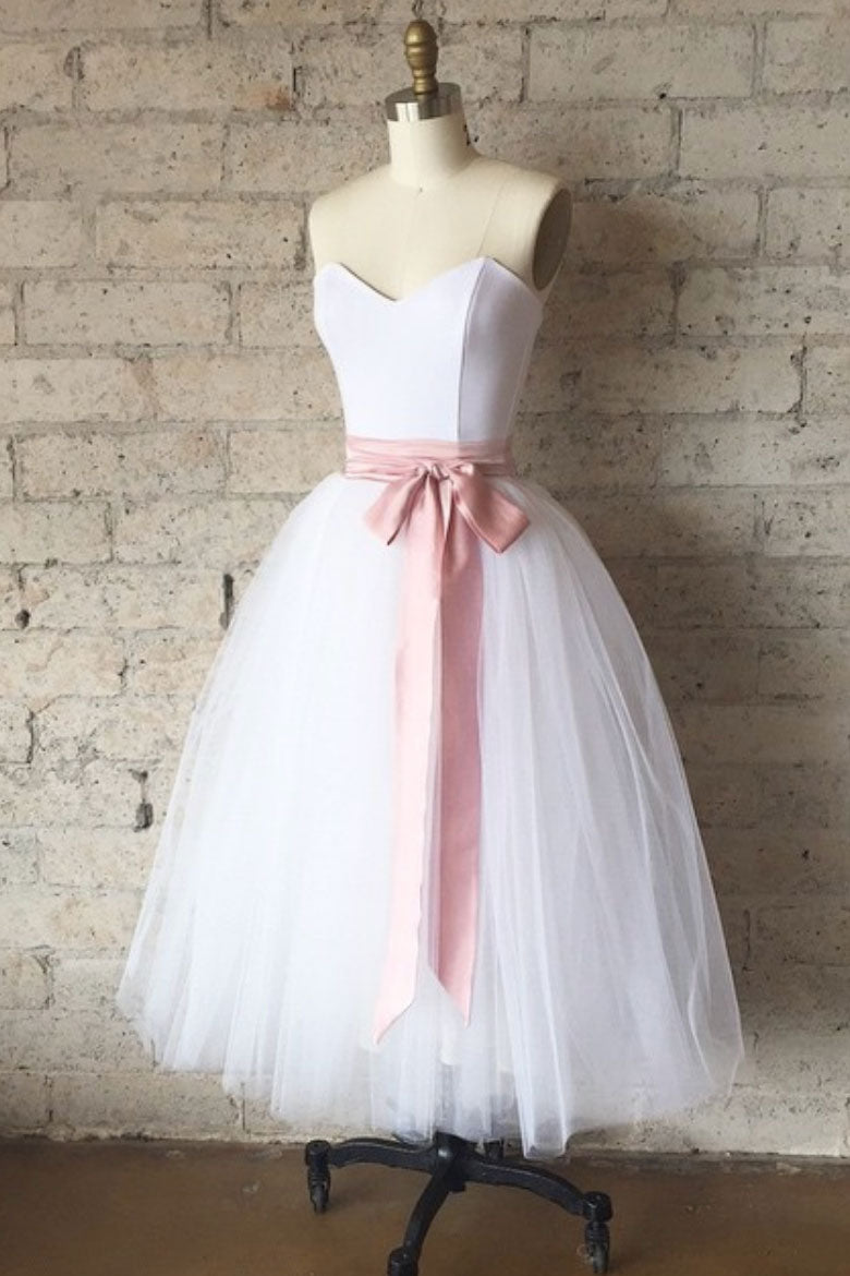 Simple white tulle tea Length prom dress, white bridesmaid dress ...