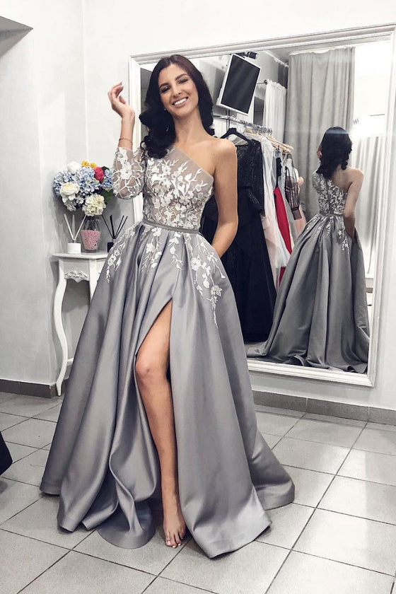 Gray one shoulder long prom dress, gray lace evening dress