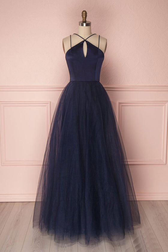 Simple dark blue tulle long prom dress, blue tulle evening dress