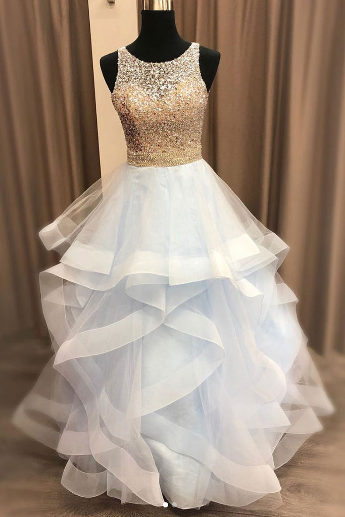 Light blue sequin tulle long prom dress, tulle formal dress