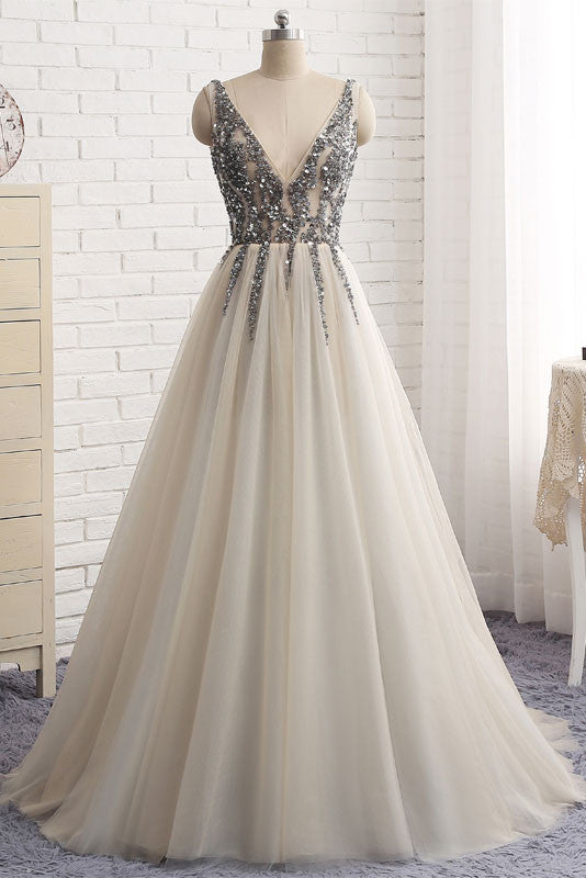 Simple v neck sequin tulle long prom dress, tulle formal dress