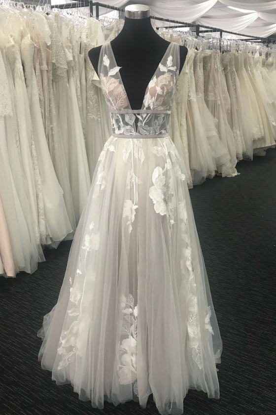 Unique Ivory tulle v neck long prom dress, tulle evening dress