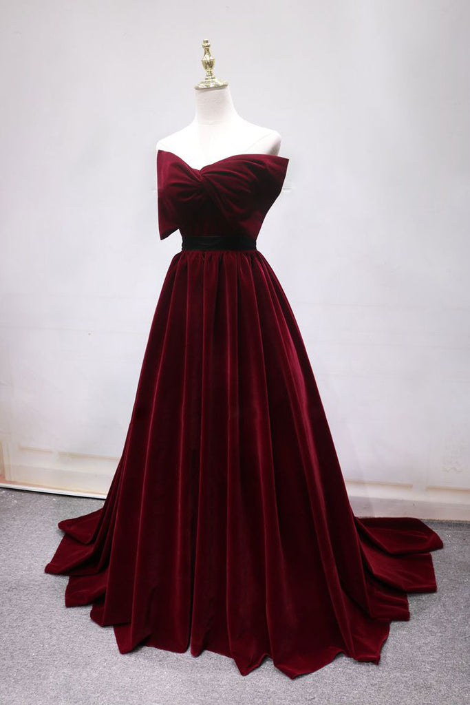 Simple burgundy long prom dress, burgundy long evening dress