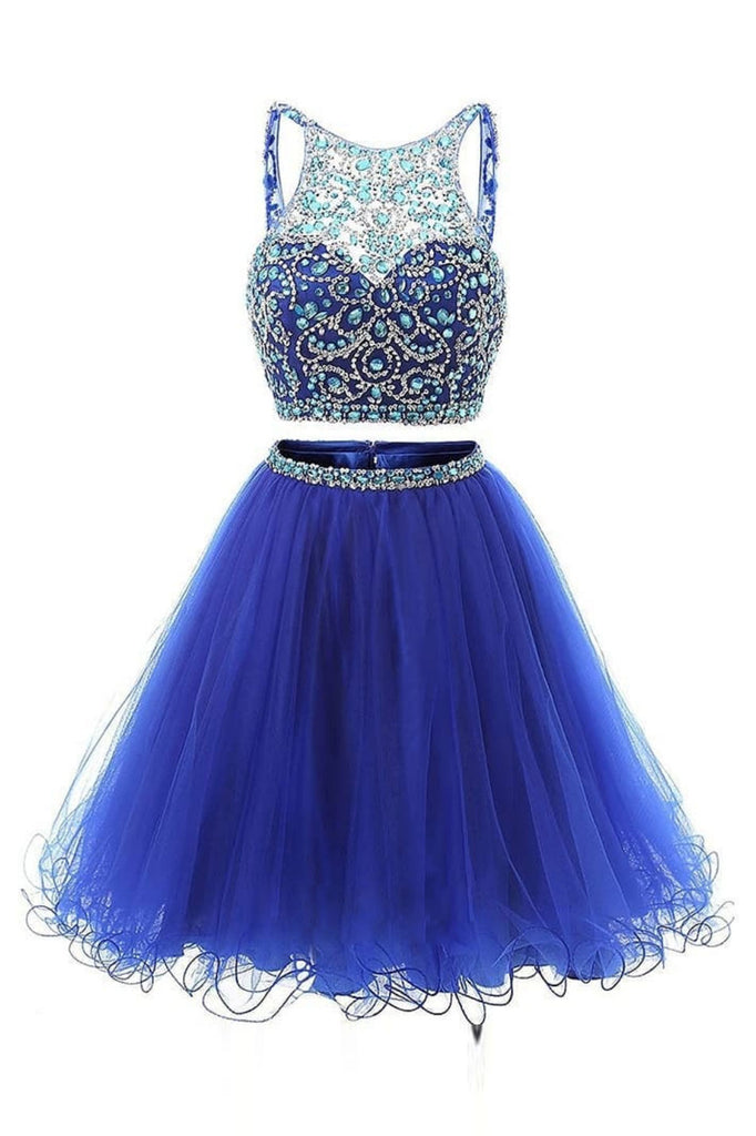 Blue two pieces tulle beads short prom dress, blue homecoming dress