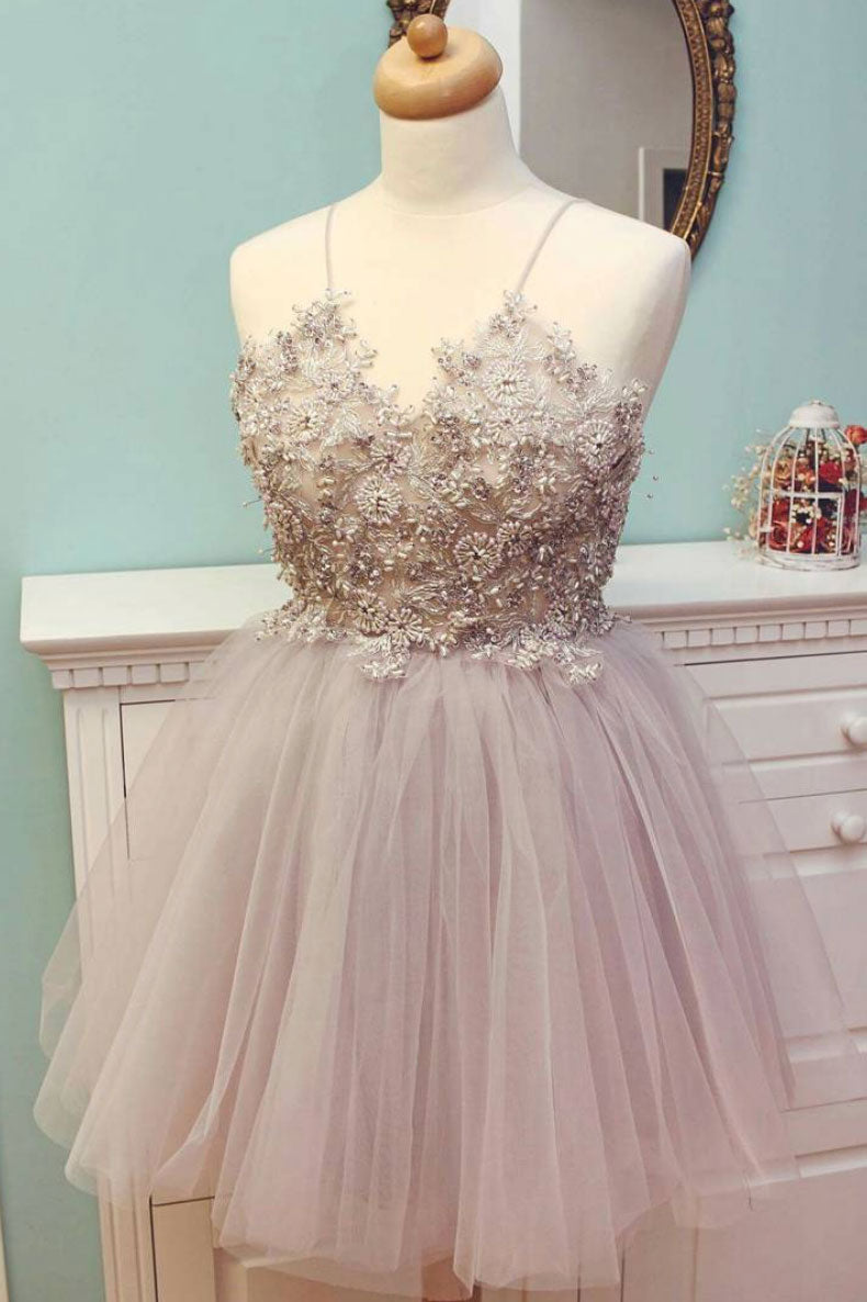 c0d364285b76 Cute v neck tulle beads short prom dress, cute homecoming dress - dresstby