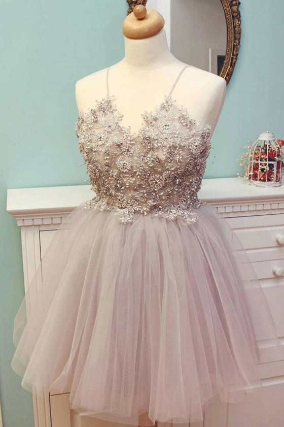 Cute v neck tulle beads short prom dress, cute homecoming dress