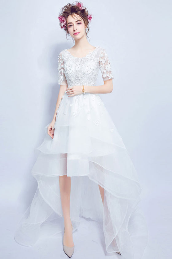 White round neck tulle lace applique  prom dress, white wedding dress