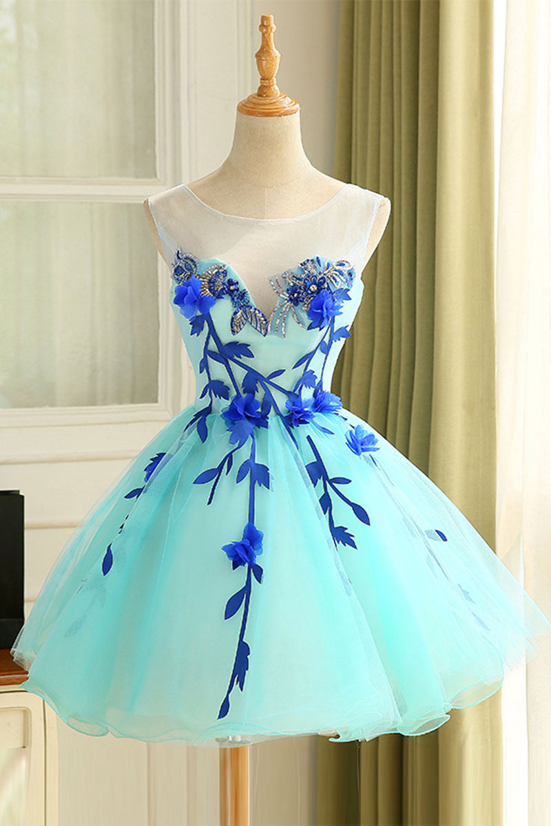 Cute blue organza short prom dress, cute homecoming dress - dresstby