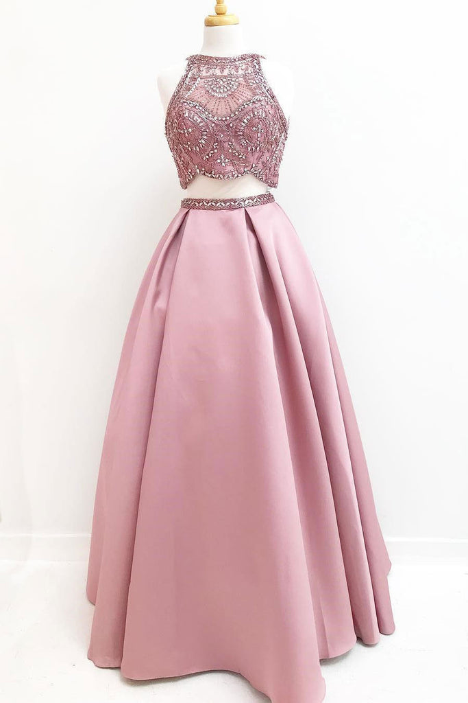 Pink two pieces beads satin long prom dress, pink evening dress