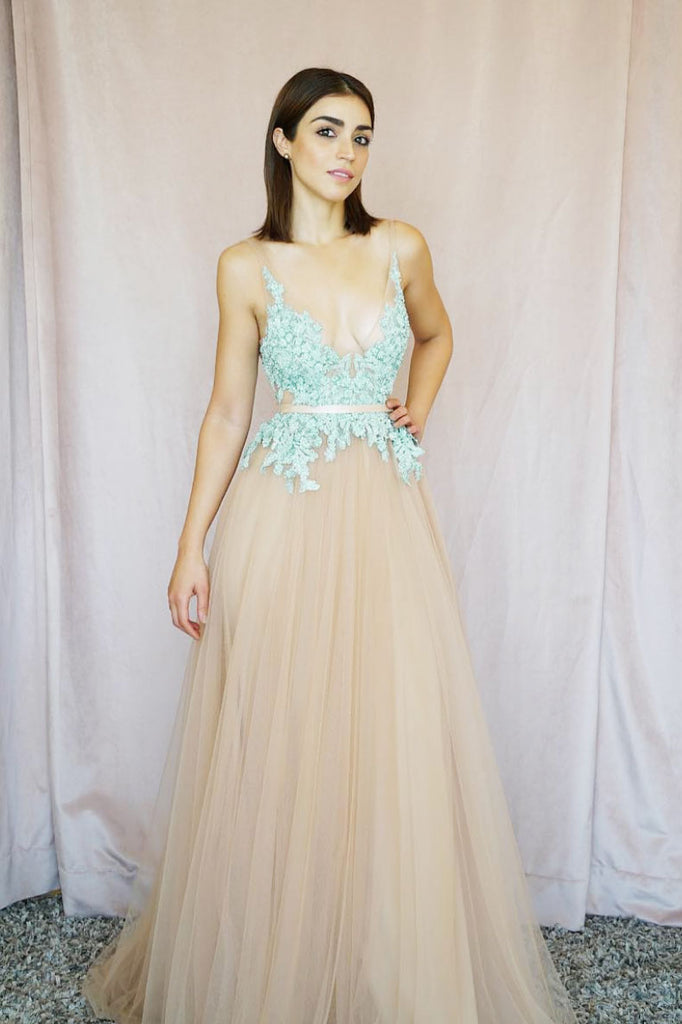 Unique v neck tulle lace long prom dress, champagne evening dress