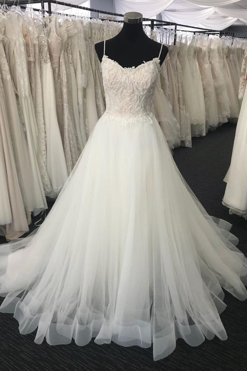 White sweetheart neck tulle lace long prom dress, evening dress