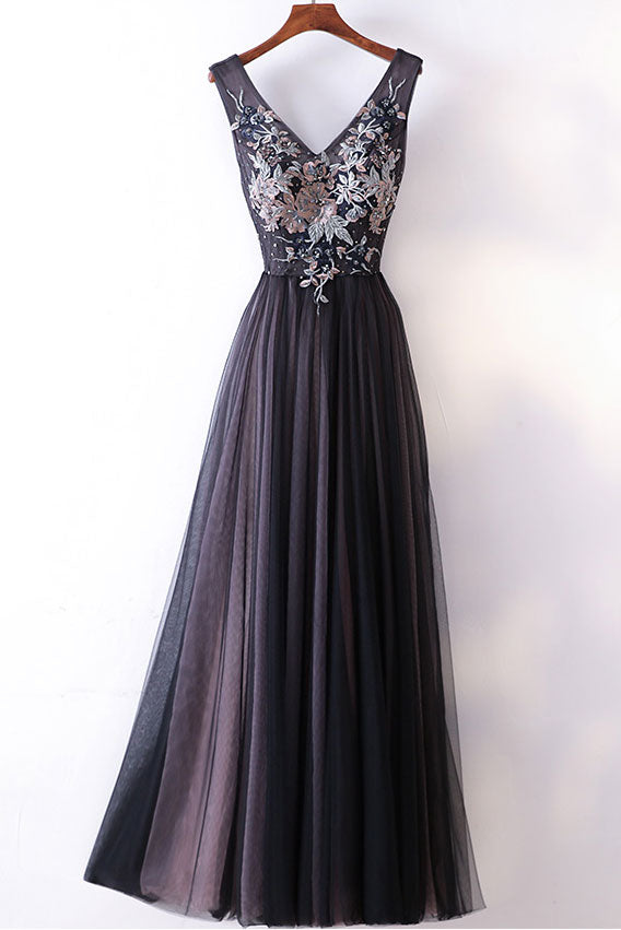 Black v neck tulle applique long prom dress, black evening dress