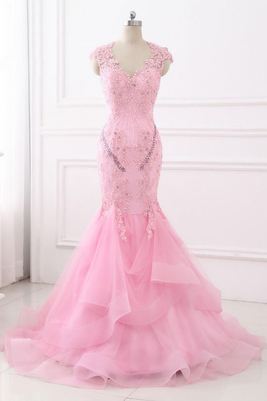 Unique pink lace mermaid long prom dress, pink evening dress